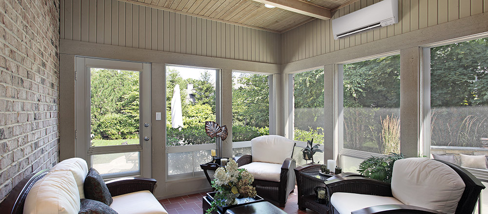 Mitsubishi Ductless Air Conditioner in Sunroom